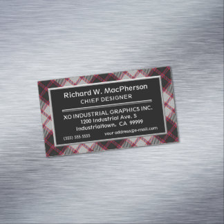 Scottish Accent Clan MacPherson Tartan Magnetic Business Card