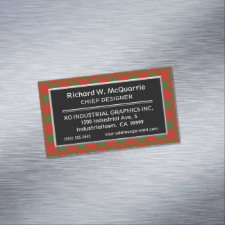 Scottish Accent Clan MacQuarrie Tartan Magnetic Business Card