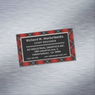 Scottish Accent Clan Marjoribanks Tartan Magnetic Business Card