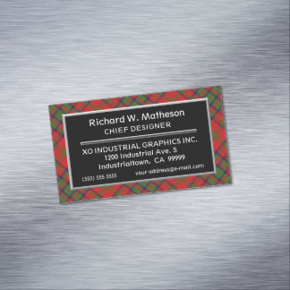 Scottish Accent Clan Matheson Tartan Magnetic Business Card