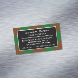 Scottish Accent Clan Menzies Hunting Tartan Magnetic Business Card