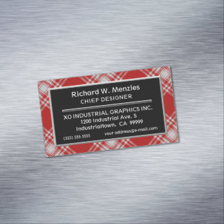 Scottish Accent Clan Menzies Red White Tartan Magnetic Business Card