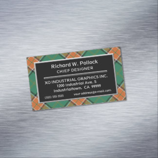 Scottish Accent Clan Pollock Tartan Magnetic Business Card