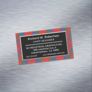 Scottish Accent Clan Robertson Tartan Magnetic Business Card