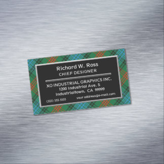 Scottish Accent Clan Ross Tartan Magnetic Business Card