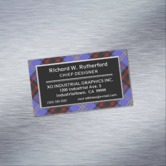 Scottish Accent Clan Rutherford Tartan Magnetic Business Card