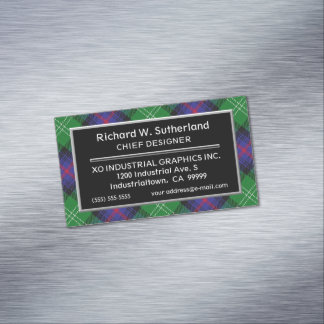 Scottish Accent Clan Sutherland Tartan Magnetic Business Card