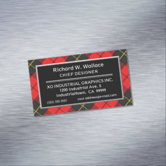 Scottish Accent Clan Wallace Tartan Magnetic Business Card