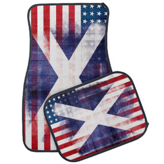 Scottish American Flag | Wood & Paintstrokes Car Mat