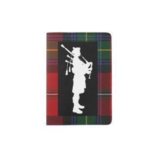 Scottish Bagpiper on Boyd Tartan Passport Holder