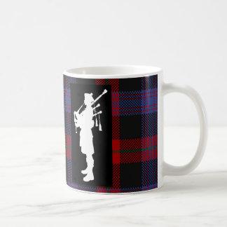 Scottish Bagpiper on Clan Brown Tartan Coffee Mug
