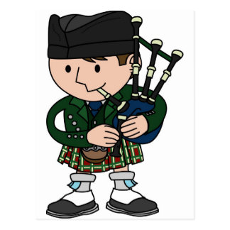 Scottish bagpiper playing bagpipes postcard