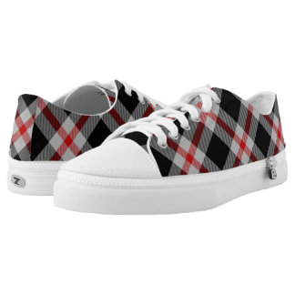 Scottish Black Gray and Red Tartan Plaid Low-Top Sneakers
