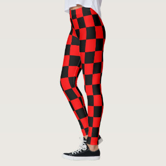 Scottish Blast Checker Board Red Black Plaid Leggings