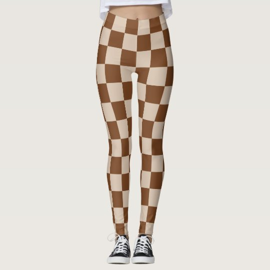 Scottish Blast Chessboard Tan and Brown  Plaid Leggings