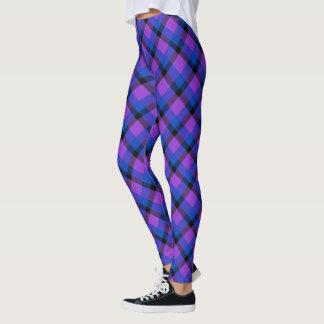 Scottish Blast Purple Blue and Black Tartan Plaid Leggings