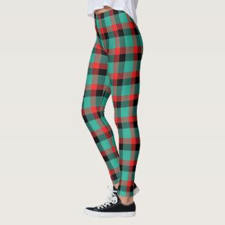 Scottish Blast Turquoise Red and Black Tartan Leggings
