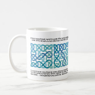 Scottish Blessing Calligraphy with Celtic Knots Coffee Mug