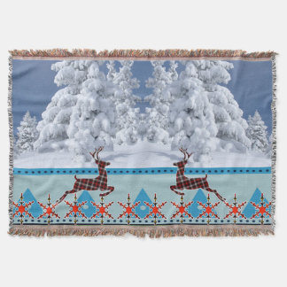 Scottish Christmas Reindeer Throw Blanket