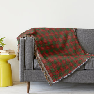 Scottish Clan Cameron Red and Green Tartan Throw Blanket