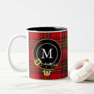 Scottish Clan Crest Monogram Tartan Two-Tone Coffee Mug