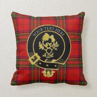 Scottish Clan Crest Rose Thistle Tartan Throw Pillow