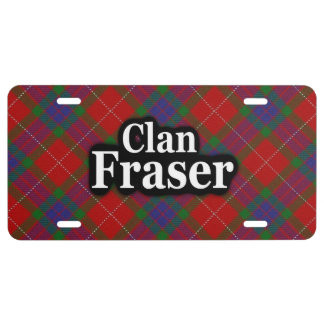 Scottish Clan Fraser Tartan Celebration License Plate