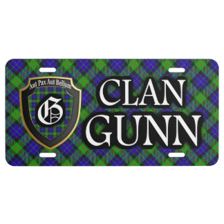 Scottish Clan Gunn Tartan License Plate