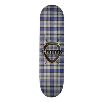 Scottish Clan Hannay Tartan Shield Skate Board Deck