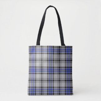 Scottish Clan Hannay White Blue Tartan Plaid Tote Bag