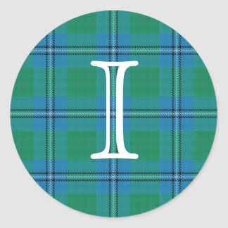 Scottish Clan Irvine Irwin Tartan With Monogram Classic Round Sticker