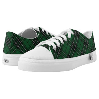 Scottish Clan MacLean Green Black Hunting Tartan Low-Top Sneakers