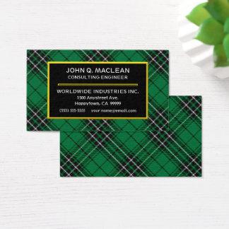 Scottish Clan MacLean Hunting Tartan Plaid Business Card