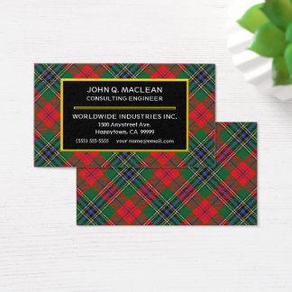 Scottish Clan MacLean Red Tartan Plaid Business Card