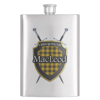 Scottish Clan MacLeod Tartan Shield and Swords Hip Flask