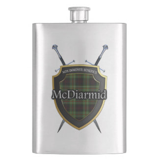 Scottish Clan McDiarmid Tartan Shield and Swords Hip Flask