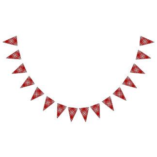 Scottish Clan Menzies Dress Red and White Tartan Bunting Flags