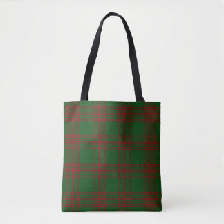 Scottish Clan Menzies Green Red Tartan Plaid Tote Bag