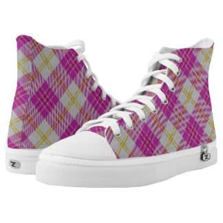 Scottish Classic Accents Pink Yellow Tartan Plaid High Tops