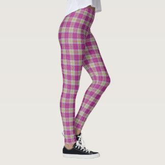 Scottish Classic Accents Pink Yellow Tartan Plaid Leggings
