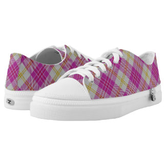 Scottish Classic Accents Pink Yellow Tartan Plaid Low-Top Sneakers