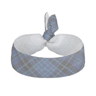 Scottish Clergy Accents Blue Black White Tartan Ribbon Hair Tie