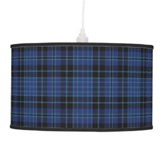 Scottish Clergy Blue Black and White Tartan Plaid Hanging Lamps