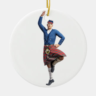 Scottish Dancer with Right Hand Up Ceramic Ornament