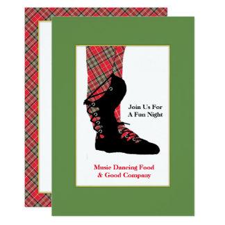 Scottish Dancing Feet Tartan Peraonalized Party Card
