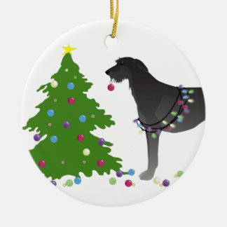 Scottish Deerhound Christmas Design Ceramic Ornament