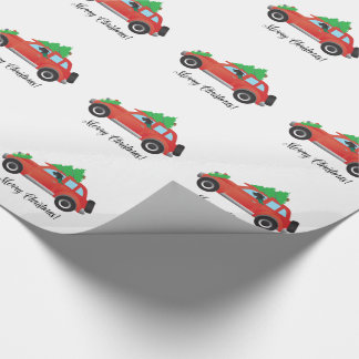 Scottish Deerhound Driving Car - Tree on Top Wrapping Paper