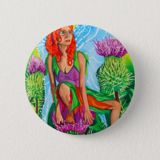 SCOTTISH FAIRY THISTLES 2 INCH ROUND BUTTON