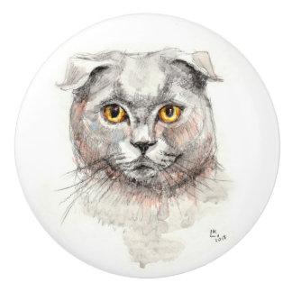 Scottish Fold Cat Ceramic Knob