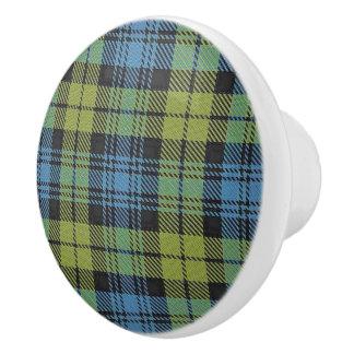 Scottish Grandeur Campbell Family Tartan Plaid Ceramic Knob